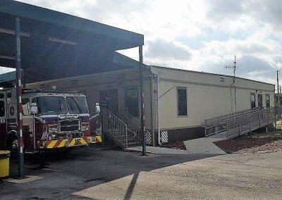 View of modular fire station with awning