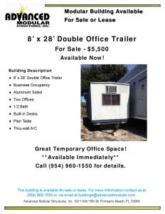 thumbnail of Double Office Trailer 8 x 28 for Sale 5500