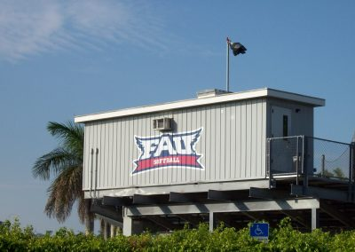 Prefabricated Modular Press Box at FAU Softball field in Boca Raton Florida