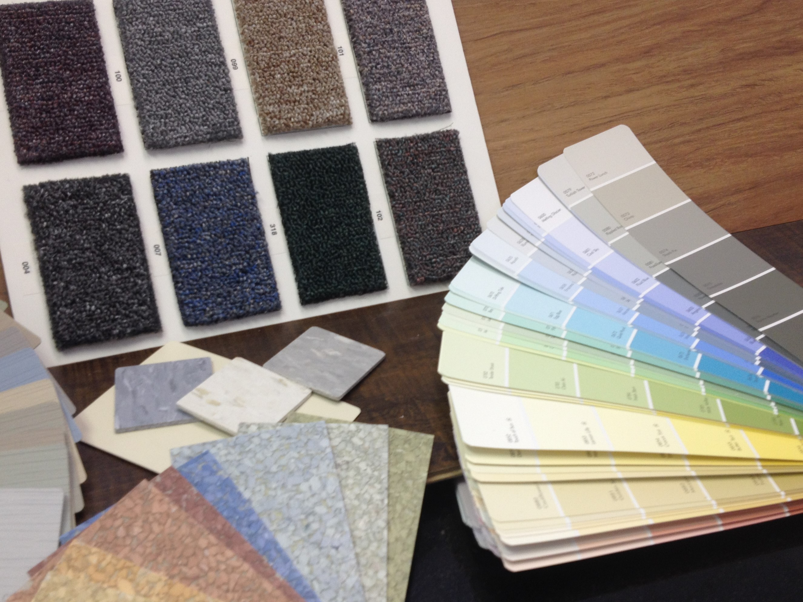A selection of custom interior finishes for modular buildings: paint, flooring, wall treatments